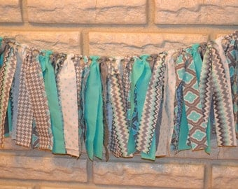 Aqua, Grey & White Fabric Banner