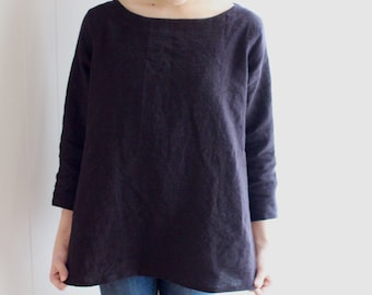 NaturallyDyed,Boartneck,Linen,Top,Simple,Handdyed,Black,PullOver,Natural,Clothing,PlantDyed,Eco conscious,Sustainable,Earth friendlyJapanese