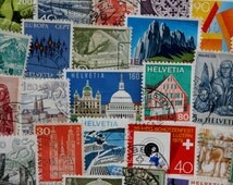 60 Swiss Postage Stamps - Vintage & Modern Mixed Lot // Stamp Collecting // Scrapbooking // Mixed Media // Paper Crafts // Paper Ephemera