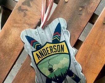 Ski Theme Family Crest Ornament // Custom Ornament // Skiing // Cabin Decor // Chairlift // Mountains // Stocking Stuffer