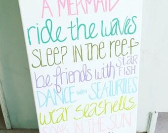 Mermaid sign-Mermaid decor-Mermaid nursery-Little Mermaid-Nautical nursery-Beach sign-Beach decor-Pink mermaid-Mermaid quote-Mermaids