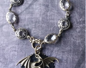Dragon Bracelet, Steampunk Dragon Bracelet, Goth Bracelet, Medallion Bracelet, Dragon Medallion, Gothic Dragon Bracelet, Game of Thrones Ins