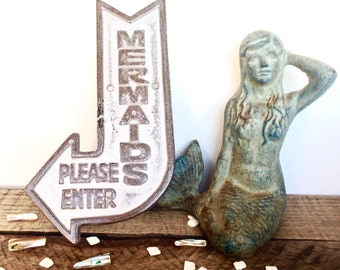 Silver Mermaid Sign - Mermaid Decor - Beach House Decor - Silver Mermaid - Bathroom Wall Art - Nautical Bathroom Decor - Mermaid Bathroom