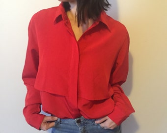 layered red blouse