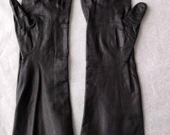 Black Leather Gloves, Long, Washable, Vintage, Size 8