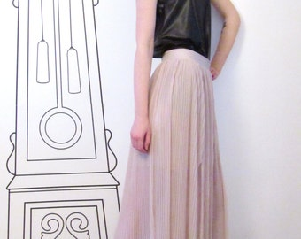 Pleated Maxi Skirt/Soft Pink Pleated Maxi Skirt/Long Pleated Skirt/Boho Skirt/Maxi Boho Skirt by FabraModaStudio/FAB202