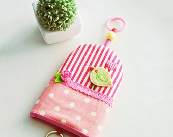 Tweeting Bird Fabric Key Cover, Key Bag, Key Organizer, Key Fob Holder, Key Case, Key Fob Cover, Gift for Girls, Made to Order
