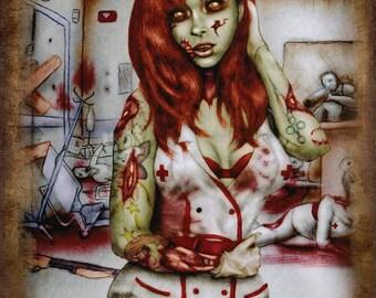 1 DOLLAR SHIPPING: Zombie Nurse, 11x14 Print