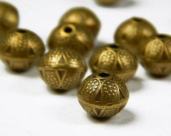 10 Pcs - 9x8mm Bronze Spacer Beads - Antique Bronze - Metal Spacer Beads - Jewelry Supplies