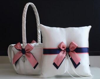 Anchor Wedding Basket / Coral Ring Bearer Pillow / Anchor Ring Bearer / Coral Navy Bearer / Navy Wedding Pillow Basket Set / Anchor Bearer