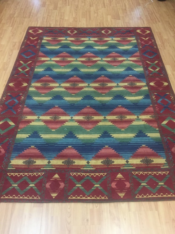 "5'6"" x 7'6"" Mexican Flat Weave Rug - Hand Made - 100% Wool"