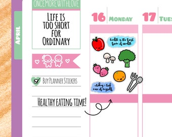Healthy Eating Fruits and Vegetables Diet Motivational Planner Stickers (V110)