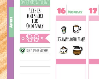 Coffee Time Planner Stickers (V94*)