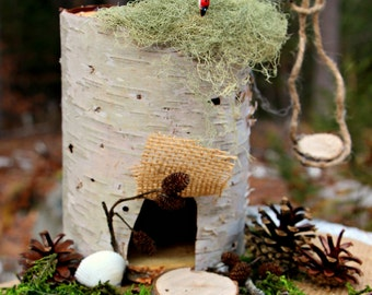 ALL NATURAL Maine Made Birch Bark DIY Fairy House Kit with Swing, Handmade, Wooden, Waldorf Inspired, Educational Creation
