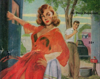 pulp art print Trailer Camp Girl  —  vintage pulp paperback cover repro