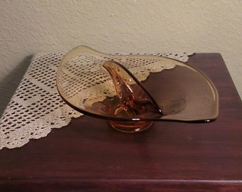 Vintage Viking Epic Amber Divided Glass Dish (1960s)