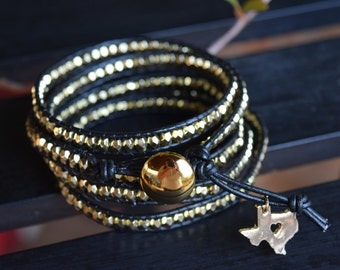 Five Wrap Beaded Bracelet with Gold Button and Texas Charm