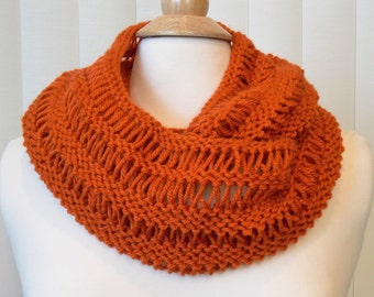 Hand Knitted Infinity Scarf, Terracotta Knit Scarf, Orange Knit Infinity Cowl