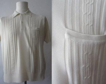 60's Polo Shirt | Vintage Polo Shirt | Made in Spain Shirt | Beige Polo