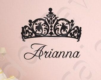 Princess Tiara Crown Custom Name Vinyl Wall Decal Girls Playroom Nursery