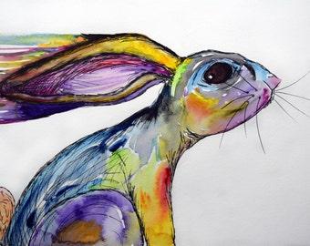 Running Rainbow Rabbit Painting Print Watercolors 11x14