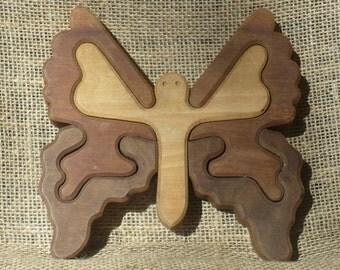 Vintage Wooden Butterfly Puzzle Piece Trivet