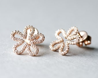 Rose Gold Plated Floral Stud Earrings, 925 Sterling Silver, Cubic Zirconia, Minimalist Jewelry