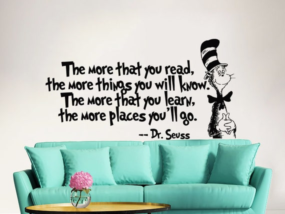 Dr seuss wall decal quote vinyl sticker decals by for Dr seuss wall mural decals