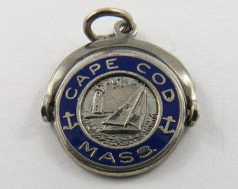 Enameled Mechanical Flipper Cape Cod Massachusetts  Silver Charm of Pendant.