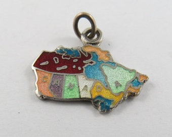 Enameled Multi-Colored Map of Canada Sterling Silver Pendant or Charm.