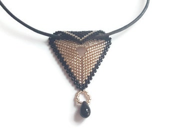 Necklace - Gold and Black Pendant - Triangle Necklace - Beaded Necklace