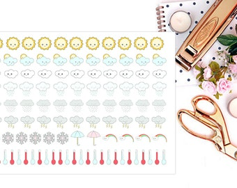 Kawaii Weather Stickers, Planner Stickers, Weather Tracker Stickers, Kawaii Stickers for Erin Condren, Happy Planner Stickers, Bujo Stickers