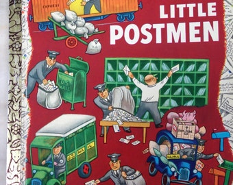 vintage Little Golden Book, Seven Little Postmen, Margaret Wise Brown, Tibor Gergely, 5th printing 1972