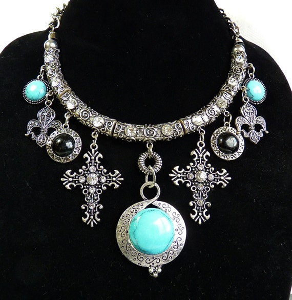 Price Reduction ~ SIVER TONE CHUNKY Choker, Faux Turquoise, Faux Onyx, Rhinestones, BoHo Chic, Steampunk, Kitschy, Great Style