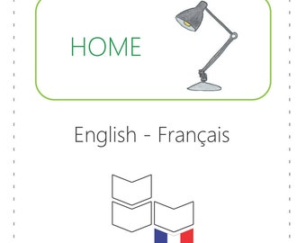 PRINTABLE Vocabulary Cards - Home (Bilingual: English to French)