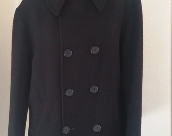 Pure New Zealand Wool Swanndri  Black double breasted Winter Jacket Coat M Made in New Zealand