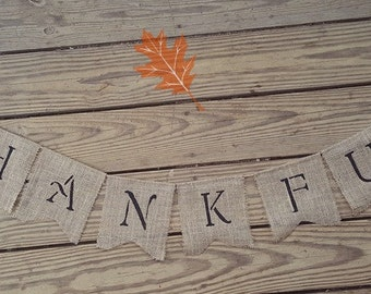 THANKFUL ~ Turkey Burlap Banner/Garland ~ Thanksgiving Fall Autumn Holiday Decoration