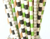 black, green, brown and gray straws set of 25, kids birthday party, weddings, favors, party supplies
