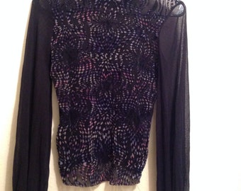90's Velvet and Mesh Turtleneck Sweater