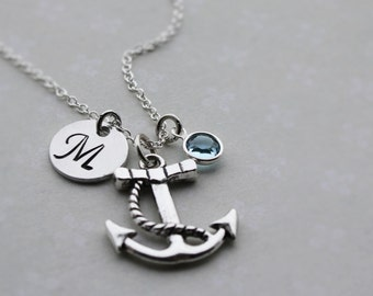 Anchor necklace, anchor jewelry, initial anchor necklace, personalized anchor necklace, nautical necklace, nautical jewelry, monogram anchor