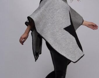 Star Like Hand Knit Poncho. 60/40 wool/acrylic