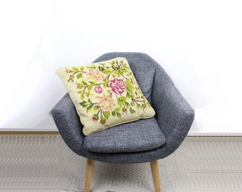 """French Vintage 1960s Needlepoint Cushion / Large 18X18"""" Tapestry Cushion Roses Canvas Pillow Green Leaves / 45X45cm Feather Pillow / France"""