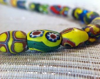 Antique VenetianTrade Beads necklace // Collectors Item // Yellow, Green, Red, White, Blue and Crystal Glass Accessory // FREE SHIPPING