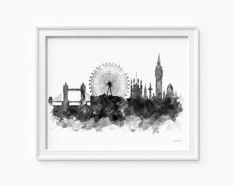 "London watercolor skyline, printable file (JPEG) download and print any size between 5""x7"" and 16""x20"", Art, Wall art, home decor"