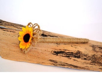 Sunflower Burlap Pen Rustic Pen Twine wrapped Pun Guest book Pen rustic Wedding Pen