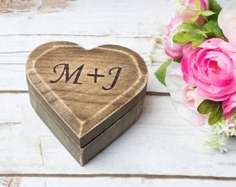 Wedding Moss Ring box Pillow Ring Bearer Rustic ring box heart shape ring box Personalized Moss Wedding bearer Holder