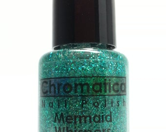 Mermaid Whispers-Handmade Blue-Green Glitter Topper/Overlay Nail Polish, 5ml Mini Bottle, Indie Polish