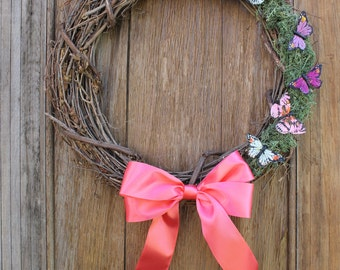 Spring Wreath, Butterfly Wreath, Moss Wreath, Natural Wreath, Spring Decor, Grapevine Wreath, Front Door Wreath, Natural Wreath