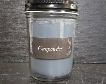 8oz Gun Powder Scented Homemade Hand Poured Soy Wax Candle