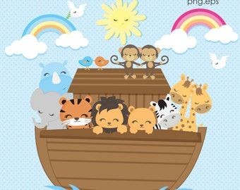 Ark Clipart, Noah's Ark Clip Art, Ark Animals clipart, Religious clipart, Commercial License Included